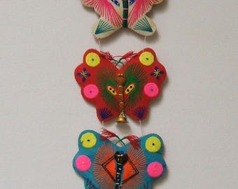 Mexican Embroidered Butterfly Wallhanging