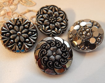 Vintage Silver Luster Black Glass Buttonss - 4 with Floral Designs