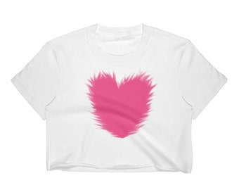 Women's Crop Top Pink heart