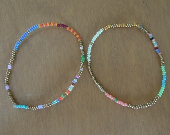"""Seed Bead Bracelet Delicate Single Strand Glass Gold Beaded Bracelets Set of 2 Tiny 11"""" Seed Beads Single Strand Gold with Multi Color"""