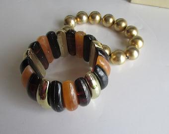 Pr Stretch Bracelets,  Amber Brown Bracelet, Gold Pearl Bracelet, Lucite Bracelet Jewelry Sets