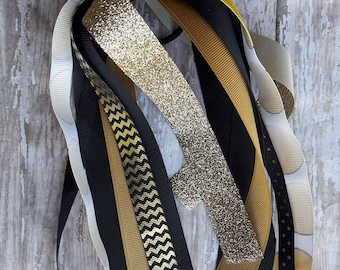 Black and Gold Softball Streamers,Gold and Black Softball Streamers,Softball Streamers,Softball Bows,Softball Ponytail Streamers,Softball.