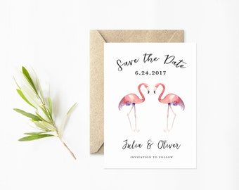 Flamingo Save The Date, Watercolor Flamingos, Modern Pink and Black with Wedding Calligraphy