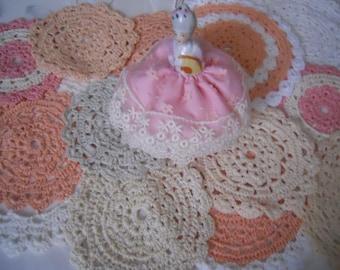 Pretty Vintage Pink Crochet Floral Doilies