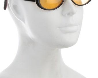 90s DOLCE & GABBANA Techno Yellow Lens Oval Eye / Round Cat Eye Vintage Designer Sunglasses w/ Canary Tinted Lenses