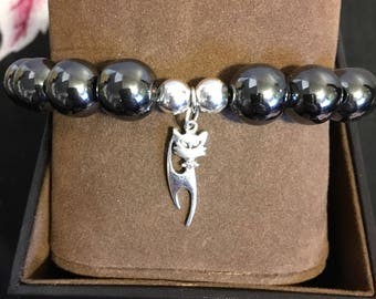 Hematite with sterling silver elegant cat charm