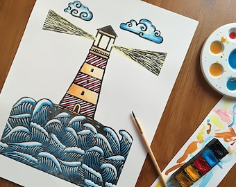 Linocut Print, Lighthouse Print, Watercolour Print, Home Decor, Block Print, Relief Print, Handmade, Lino Print, Linoart, Linoart Prints