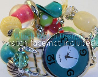 Carnival.. Bright Turquoise Blue, Lime Green, Hot Pink, and Buttery Yellow Interchangeable Beaded Watch Band