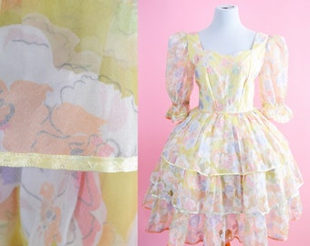Vintage Yellow Floral Dress // 60s, Laurence Welk Costume, 70s, Honky Tonk Dress, Womens Size Large