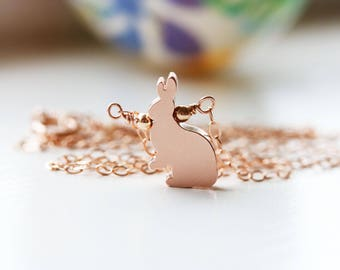 Rose Gold Bunny Rabbit Necklace Small Woodland Rabbit Charm Bunny Jewelry Minimalist Easter Bunny Necklace