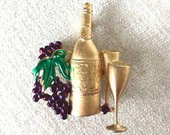 SALE OAJC Grapes and Wine Brooch