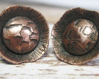 Copper Studs - Rustic Copper Earrings - Hammered Stud Earrings - Minimalist Earrings -  Gift for Her