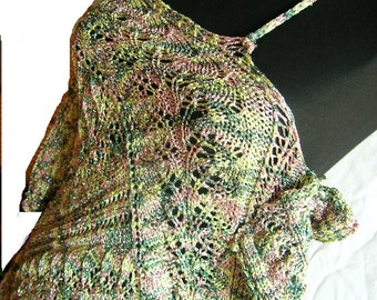 Knitted entrelac Lace summer tunic with flexible width: the PATTERN (.pdf). SALE!