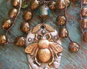 ON SALE Crochet necklace - Bee Loved - boho jewelry inspirational stamped spoon, crochet jewelry, pendant necklace, bronze aqua silver brass
