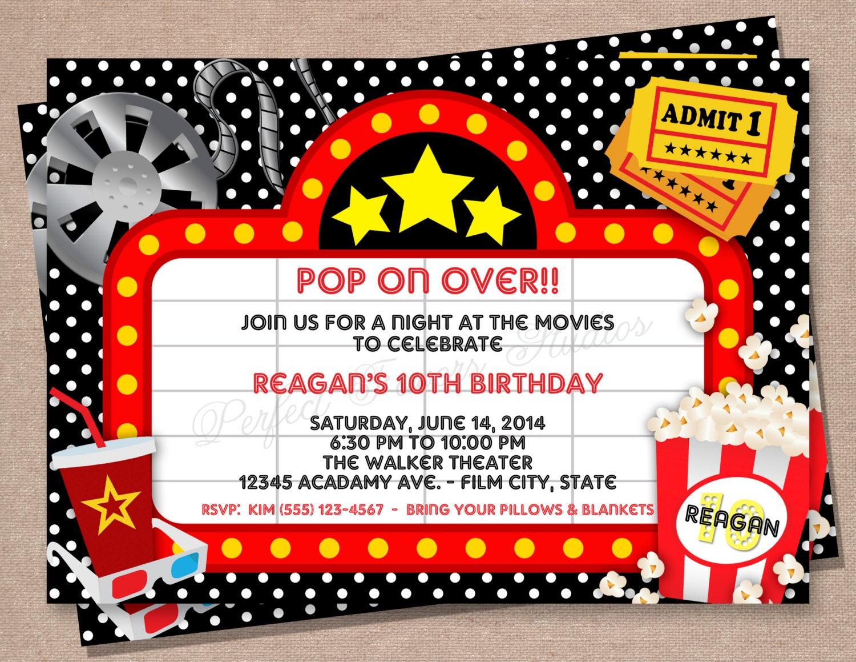 Movie Night Invitation Kids Invitations Teens Invitations
