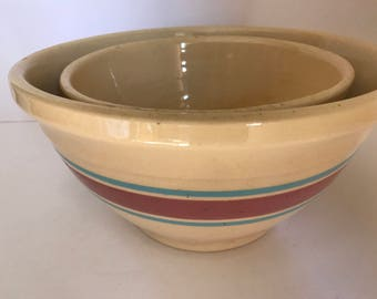 Vintage Pair of Watt Yellow Ware Mixing bowls, #10 and #8 marked oven ware USA Turquoise and Pink Border