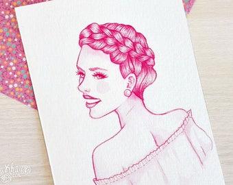 Pink watercolor Scarlett Johansson inspired mini portrait (Original art)