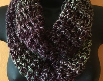 Shades of wine and green infinity scarf