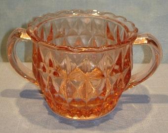 Windsor Diamond Pink Depression Glass Sugar Bowl