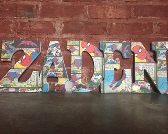 Custom decorative wooden letters, wooden name, super hero, marvel letters, spiderman letters, home decor