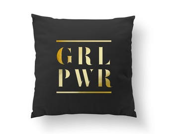 Grl Pwr Pillow, Girl Pillow, Girl Power, Motivational, Feminism, Fashion Chic, Throw Pillow, Typography Pillow, Home Decor, Cushion Cover