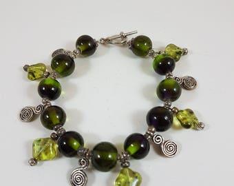 Green and Silver Charm Style Bracelet