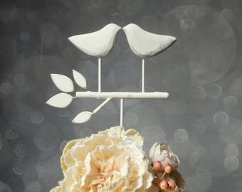 White Wedding Cake Topper, Bird Cake Topper/ Love Birds for Your Rustic Wedding/ Wedding Cake Topper Rustic