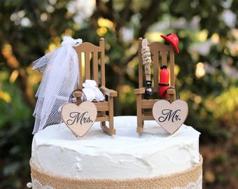 Fireman Cake Topper, Wedding-Rocking Chairs-Bride-Groom-