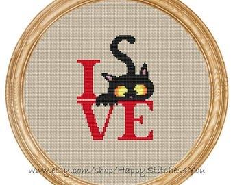 Cross Stitch Pattern PDF love cat  DD0199