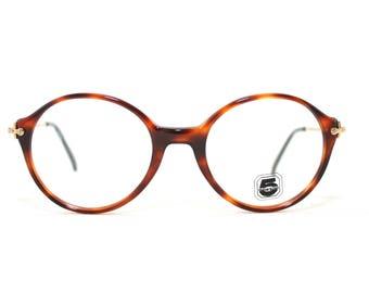Fontanez Round Eyeglasses 80's Vintage New Old Stock France Eye Glasses 5 Generation Brown Maroon Tortoise Shell Medium Women's Men's Gold
