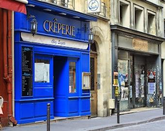 Creperie, Paris France, Paris restaurant, street photography, Chez Suzette, blue, kitchen art print, fine art photography, home decor, 8x10
