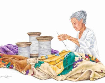"""Limited Edition Print """"Seamstress"""", Colored Pencil Drawing by Katherine Thomas"""