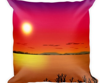 Red Sky Delight - Square Pillow