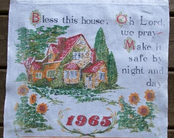 """Vintage 1965 Calendar """"Bless this House"""" Linen tea towel, shabby chic, country kitchen"""