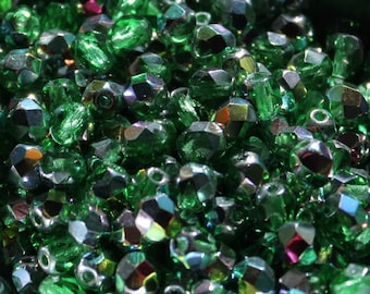 30 pieces of vitral - green 6 mm fire polished czech crystal beads (CZ06-07)