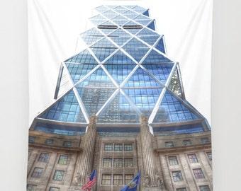Hearst Tower New York Wall Tapestry, Manhattan Building, Urban Photography, Iconic Landmark, Modern, Office Decor, City Life, Dorm, Glass