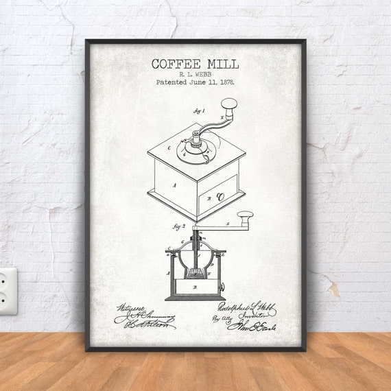 Coffee mill patent print coffee mill blueprint coffee malvernweather Images