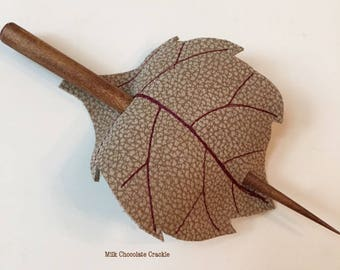 Leaf Hair Stick Barrette - Eco Friendly Leather - Milk Chocolate Crackle