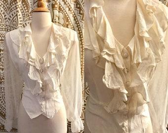 VTG 80s White Ruffle Romance Sheer POET SLEEVE Prairie Festival Dress Blouse Top L