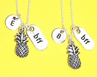 Best Friend Necklace, Pineapple Charm, BFF necklace,sister, mother daughter, friendship jewelry, friends,Silver Friends Necklace,Friend Gift