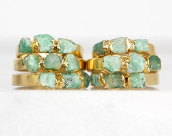 raw emerald ring | may birthstone ring | genuine emerald birthstone | raw emerald jewelry | may birthstone jewelry | emerald crystal ring