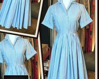 Vintage Blue White Check Day Dress 1960s Cotton FREE SHIPPING