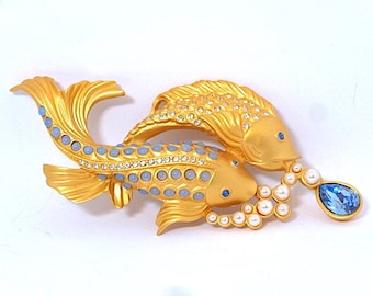 Elizabeth Taylor for Avon Sea Shimmer Fish Brooch Koi Fish 1993 - Elizabeth Taylor Jewelry - Fish Brooch - Vintage Jewelry