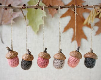 Set of 6 Crochet Wool Acorns Thanksgiving Fall Rustic Decor Woodland Decoration Christmas Ornaments