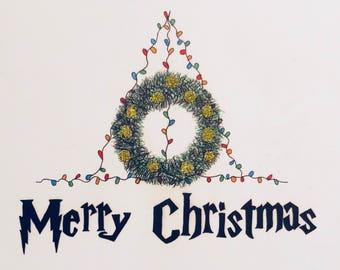 Festive Deathly Hallows Christmas Card
