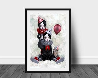 Clown Girl Art Print | Clowns Print | Pop Surrealism Art | Pop Surrealism | Wall Decor | Trio