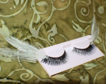 White and black feather lashes with clear jewels
