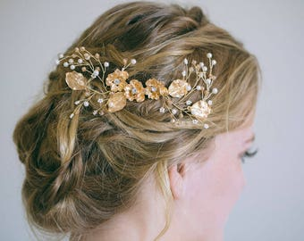 Gold Hair Comb, Gold Hair Vine, Gold headpiece, Gold leaf comb, Flower Hair Comb, Bridal Hair Comb