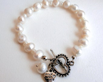 Real Pearl Bracelet - Heart Charm - Repurposed Jewelry - Freshwater Pearl Bracelet