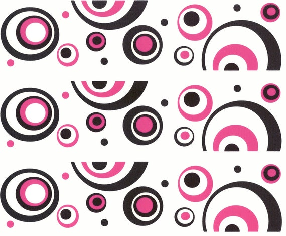 Pink & Black Mod Birthday Swirls - Edible Cake Side Toppers- Decorate The Sides of Your Cake! - D980